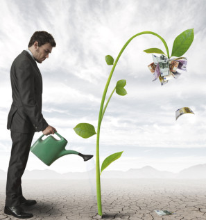 Businessman watering aplant that produces money